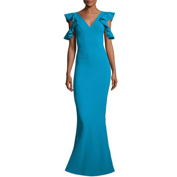 La Petite Robe Di Chiara Boni Beaufort Cold-Shoulder Ruffle-Sleeve... ($995) ❤ liked on Polyvore featuring dresses, gowns, laguna, v neck dress, jersey evening gown, blue dress, cold shoulder dress and blue gown