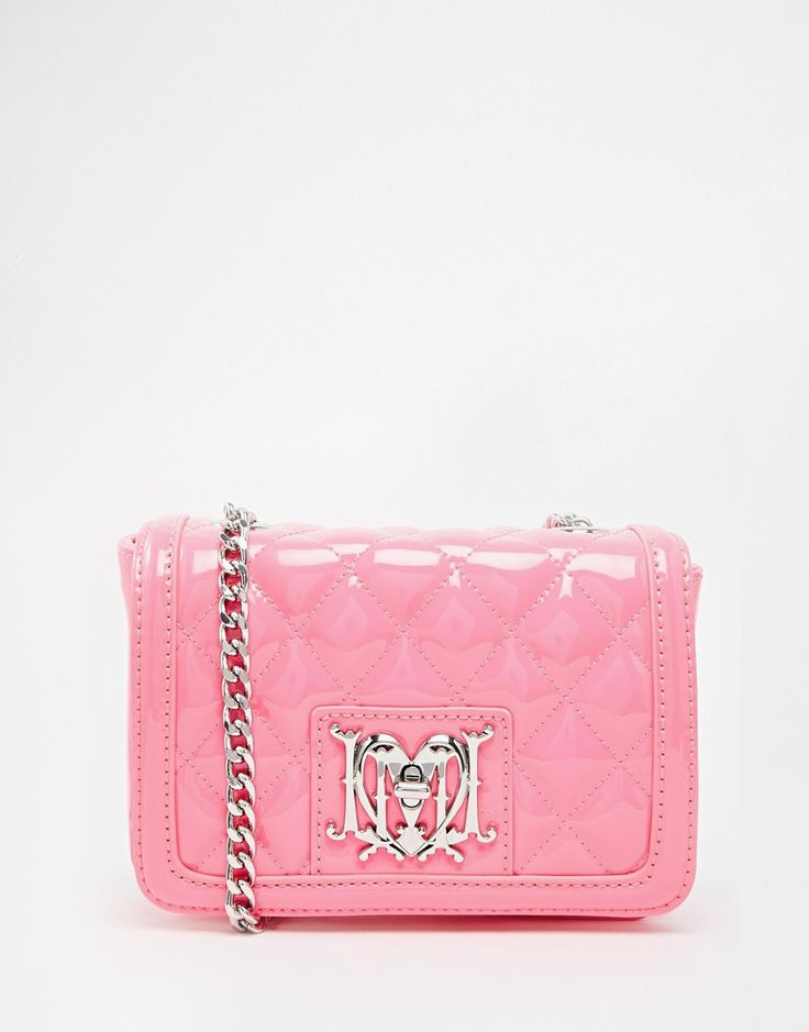 Love Moschino Patent Pink Quilted Bag with Chain Strap  <3 <3 <3