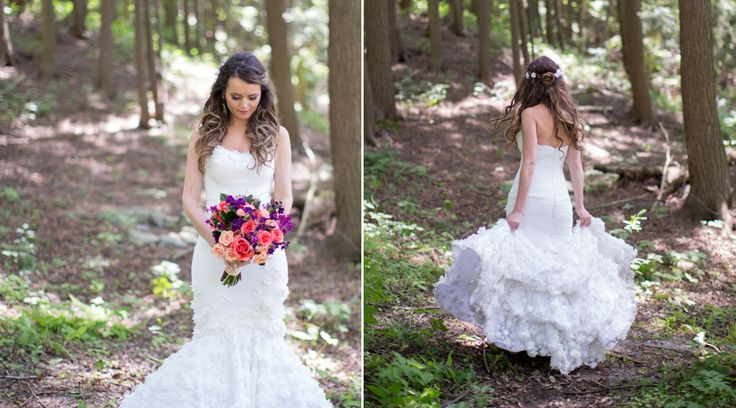 Bride wearing Mark Zunino gown at McMichael Art Museum