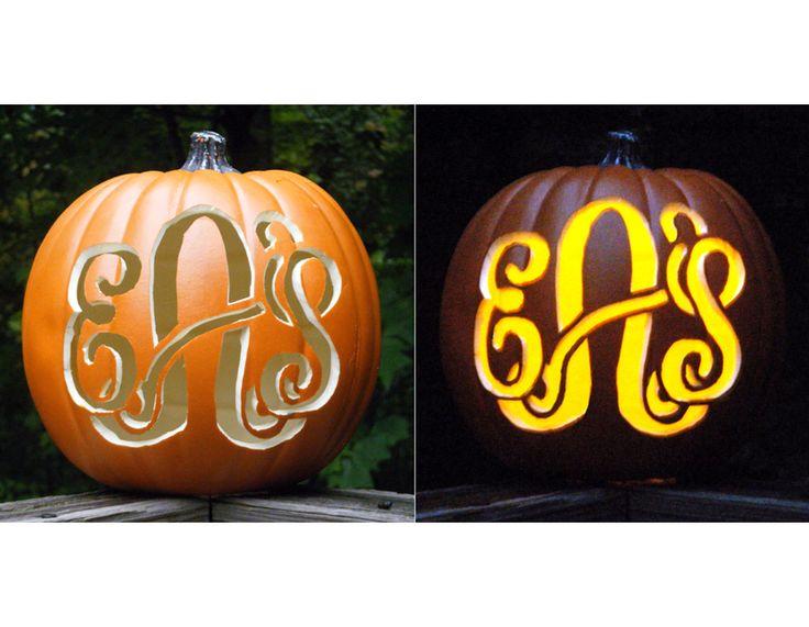 eAs: Holiday, Carved Pumpkins, Craft, Monogrammed Pumpkins, Fall Halloween, Monogram Pumpkin, Halloween Ideas, Monogrammed Carved