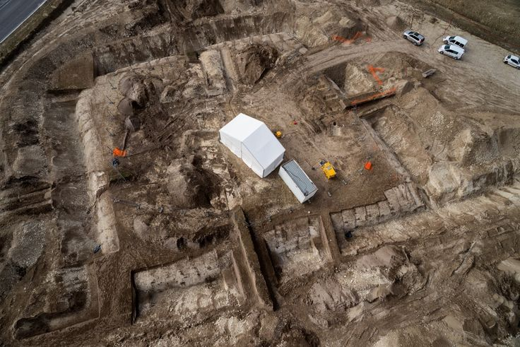 This aerial view shows the funerary complex where archaeologists discovered a Celtic prince's tomb dating to the fifth century B.C.<br />