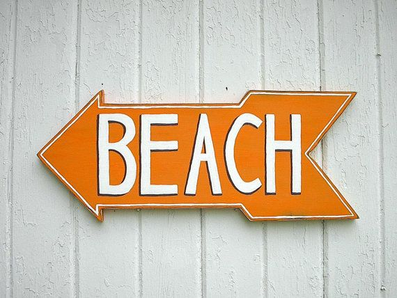 Beach sign wood sign orange shabby chic sign by Twigs2Whirligigs, $38.00