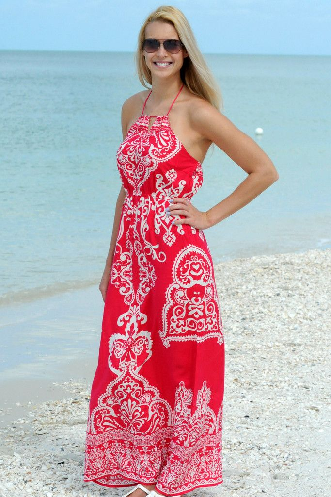 www.SHOPSIMPLYME.com TO THE MAXI Pink White Halter Maxi ...
