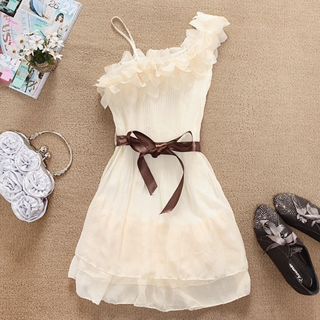 Fabulous cocktail dress: Cute Tops, Cheap Dresses, Cheap Clothing, Style, Cute Dresses, One Shoulder, White Dresses, Chiffon Dresses, Cute Clothing
