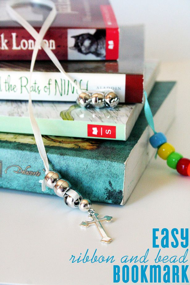 easy DIY ribbon and bead bookmark
