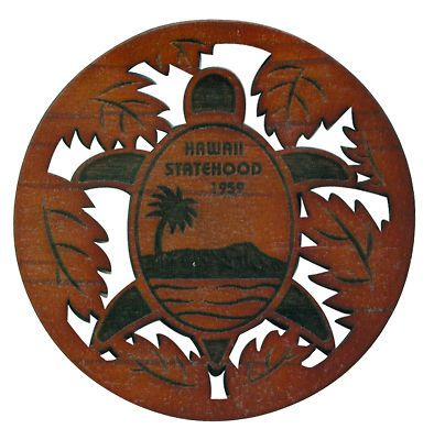 Hawaii Statehood Coasters ~ Diamond Head Honu Set Of 4