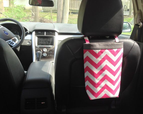 Car Trash Bag CHEVRON PINK, Women, Car Litter Bag, Auto Accessories, Auto Bag, Car Organizer via Etsy