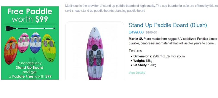 Marlin Sup always makes use of dent-resistant material for manufacturing its stand up paddle boards. Each paddle board sale, made available by this manufacturing company is not only affordable but also satisfies the user