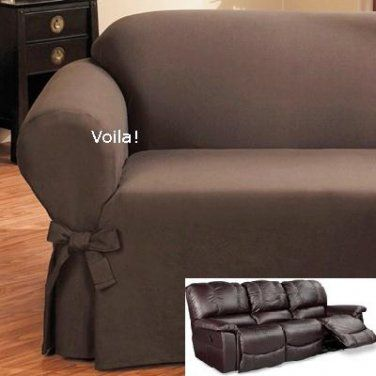 Reclining SOFA Slipcover Ribbed Texture Chocolate Adapted for Dual Recliner Couch