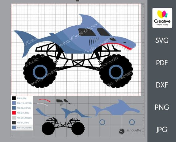 Shark Monster Truck Svg Dxf Monster Jam Racing Car Birthday Etsy In 2020 Monster Trucks Truck Crafts Cricut Projects Beginner