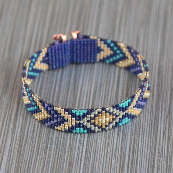 Buried Treasure Bead Loom Bracelet Bohemian Boho Artisanal Jewelry Western Bead Santa Fe Native American Inspired Southwestern