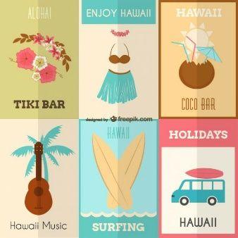 Enjoy Hawaii vector set