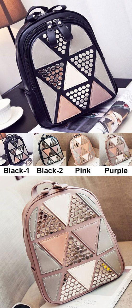 Unique Girl's PU Splicing Leisure Rivet School Backpack Triangles Sequins Backpack for big sale! #leisure #backpack #sequin #bag #pu #rivet