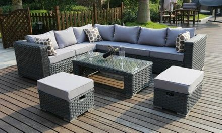 Add a touch of style and comfort to a garden with this handmade furniture set which features waterproof cushions