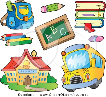 Clipart School House Bus And Supplies - Royalty Free Vector Illustration by visekart