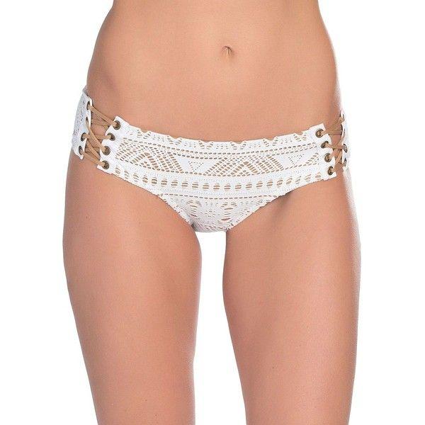 Becca Swim La Boheme Lace-Up Bikini Bottom ($58) ❤ liked on Polyvore featuring swimwear, bikinis, bikini bottoms, white, white bikini, bohemian bikini, bottom bikini, macrame bikini and white crochet bikini bottoms