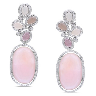 Miadora Collection - off-round pink opals with rose-colored sapphires and diamonds.: Pink Opal