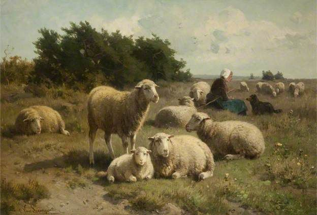 Cornelis van Leemputten, (1841-1902) Dutch Landscape with Shepherdess