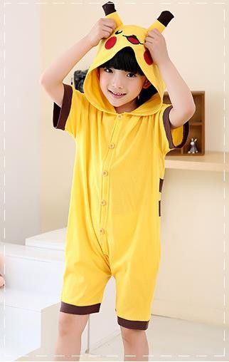 Anime Pokemon Pikachu Cosplay Costume Summer Jumpsuit Short Sleeve kid Animals Pikachu Pajamas Pyjamas Onesie Children Sleepwear
