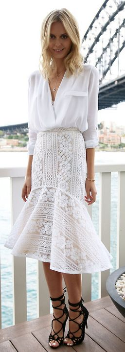white blouse, lace trumpet skirt, lace-up black heels