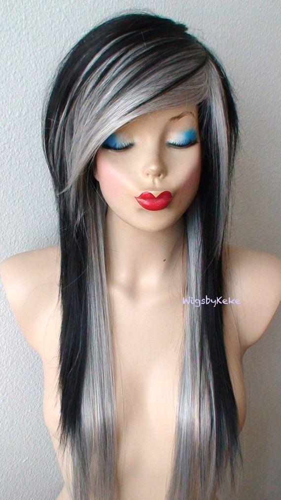 Scene hairstyle wig. Emo wig. Gray /Black / wig. Black by kekeshop