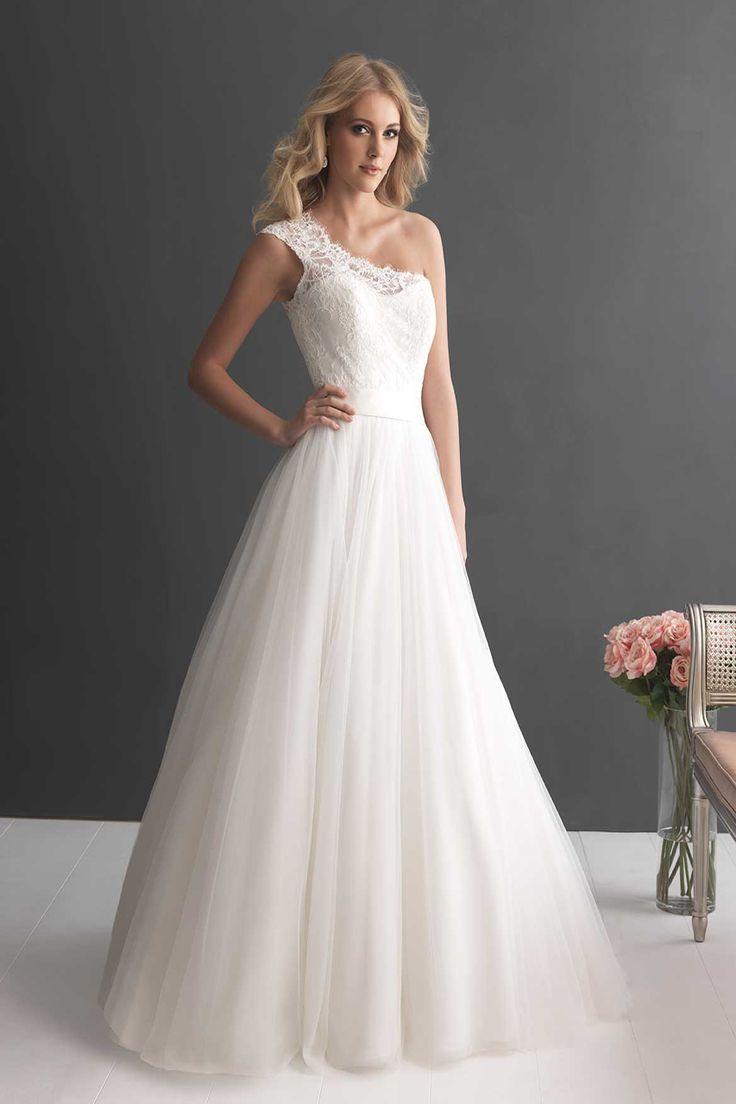 Allure Romance Wedding Dresses   Price Range: $501 - $1,000 Neckline: One-shoulder Sleeve: Sleeveless Train: Chapel Length Silhouette: Ballgown Fabric:  Lace
