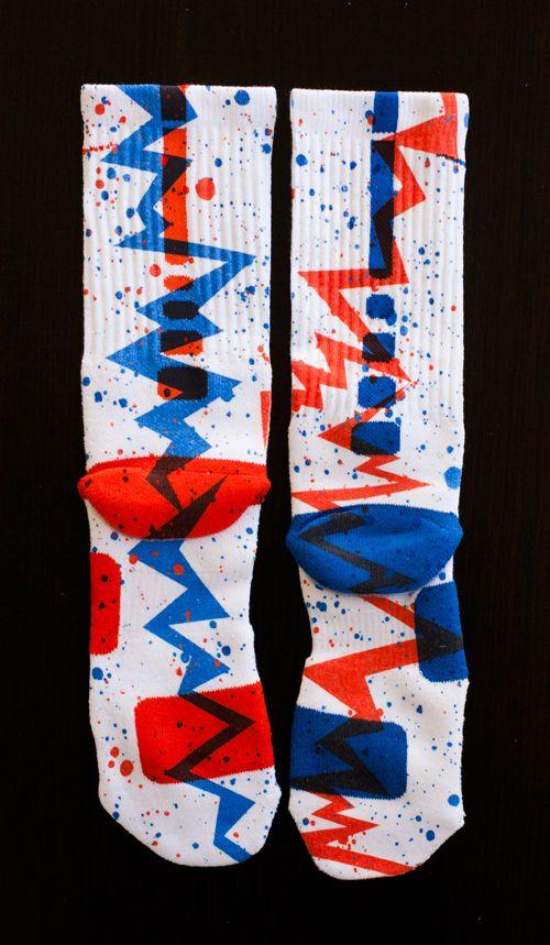 Custom Nike Elite Socks - Thesockgame.com — KD Thunder Quakes Custom Nike Elite Socks