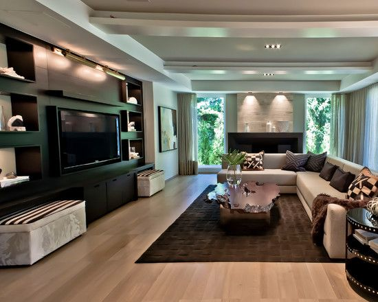 17 best ideas about tv wall design on pinterest living for Living room with 65 inch tv
