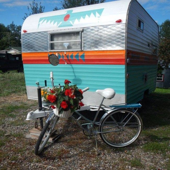 Camper With Outdoor Kitchen: Painted Vintage Camper With A Thunderbird Design, Red