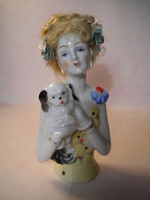 Deco Half Doll with Original Wig Holding Her PEKE   eBay