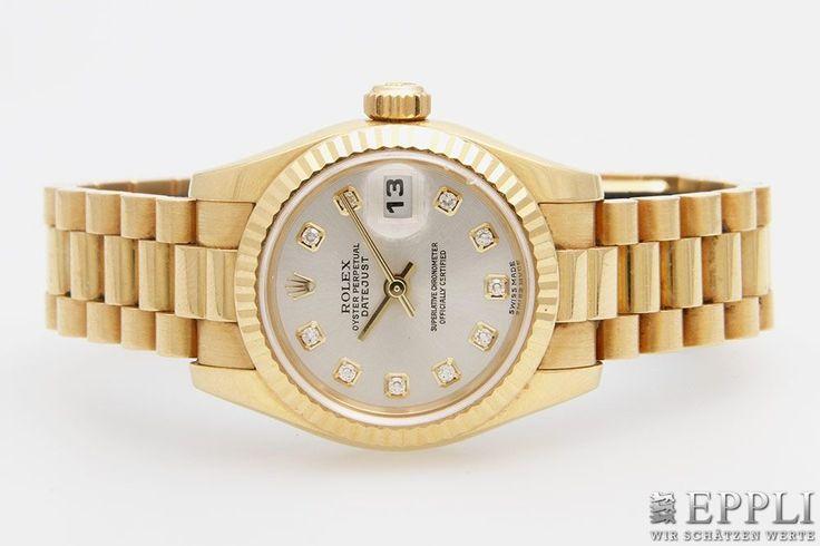 "LIMITED AVAILABILITY!! ROLEX Damenarmbanduhr ""Oyster Perpetual Datejust"" m. diamantbesetztem Zifferblatt, GG 18K, Automatikwerk. Ref. 179178. D: ca. 25mm. Leichte Tragespuren. Bedienungsanleitung u. Garantiekarte anbei. * Leg. 750/000 * Gew. 103,9 g Keywords: Recommended, Rolex, Sale, Watch"