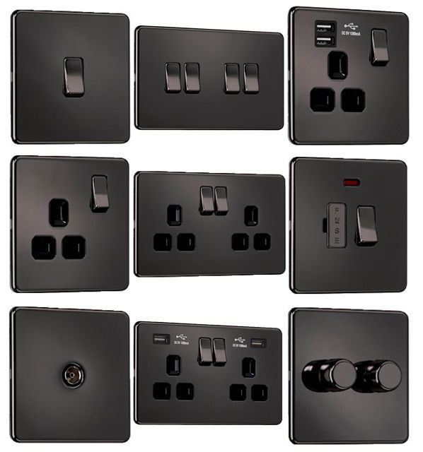 EXCLUSIVE PROMOTION Flat Plate Screwless Switches & Sockets. Our Range Of Black Nickel Sockets & Switches Include Our screwless flat plate switches & sockets are made from a high quality ultra slim 1 mm steel. | eBay!