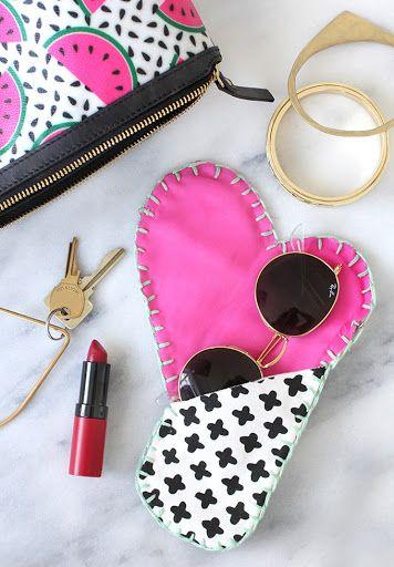 Super niedliche Geschenkidee für die Freundin l Brillenetui selber machen l DIY Cotton Canvas Heart Sunglasses Case