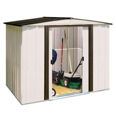 Arrow Newport 8 ft. x 6 ft. Steel Shed-NP8667 at The Home Depot --- This could be a potential outdoor catio for any ferals that come into our lives.