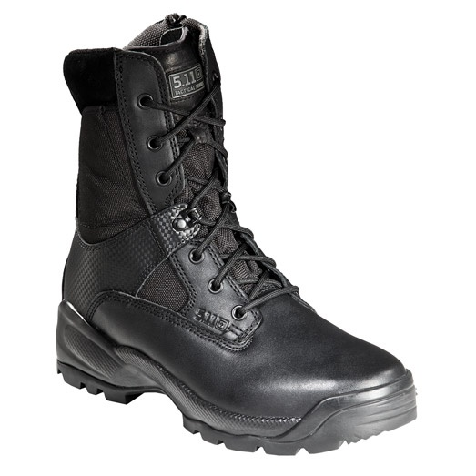 """The 5.11 Tactical ATAC 8"""" Size Zip Boot is a favorite among patrol officers with its easy on & off side zip feature, full grain leather polished toe, quiet outsole, and hidden side pocket."""