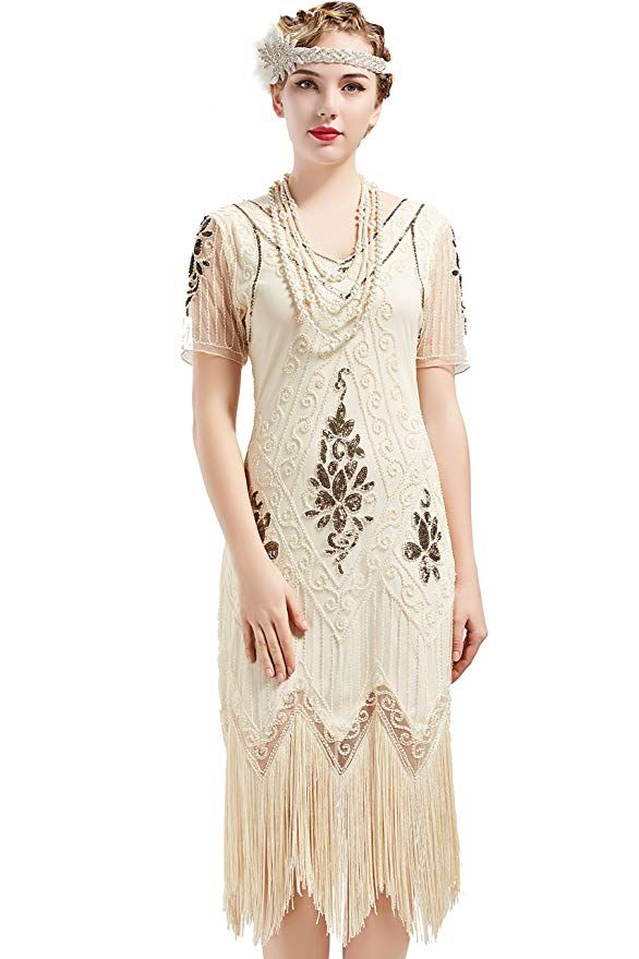 a61c0594a9 BABEYOND 1920s Art Deco Fringed Sequin Dress 20s Flapper Gatsby Costume  Dress  Dresses  clothing