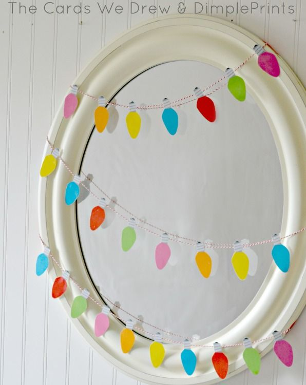 Christmas Light Garland Mirror with Free Printable from DimplePrints
