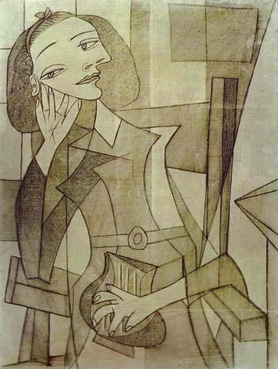 Pablo Picasso - Nusch Eluard, 1938 - During the 1930s, Pablo Picasso becomes a close friend of the Eluards and the painter often depicts Nusch while it is strongly believed they both went on a romantic affair, approved by Paul Eluard who seemed to appreciate the concept of ménage-à-trois, having previously 'lent' his first wife, Gala to Max Ernst. http://theredlist.com/wiki-2-24-525-770-942-view-1930s-4-profile-nusch-eluard.html