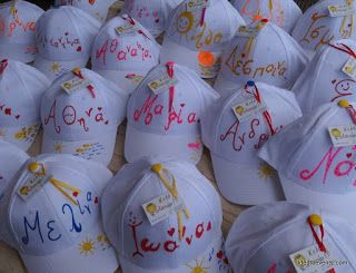 Summer jockey hats hand painted as party gifts & favors! Καπελάκια ζωγραφική ως δωράκια για το πάρτυ ή την βάπτιση.  Ideatoevents.com