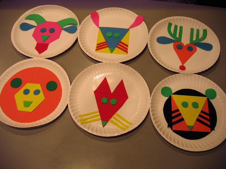 "Based on book ""Color Zoo"" by Lois Ehlert. Craft foam glued to paper plates. I made another set of matching pieces so Angela can put them together as a puzzle."