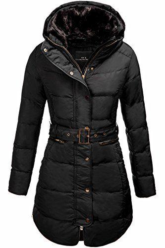 MK Damen gefütterter Steppmantel mit Fellkragen und Taillengürtel Mantel mit Gürtel Stepp Wintermantel Mantel Damenmantel Schwarz L