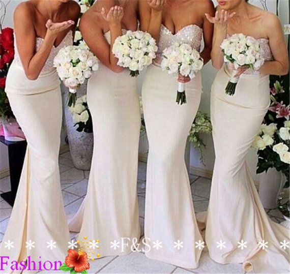 Sexy Mermaid Bridesmaid Dress, Affordable Sweetheart Sparking Mermaid Ivory Bridesmaid Dress, Long Elegant Modest Bridesmaid Dress 2014 on Etsy, $133.24 CAD