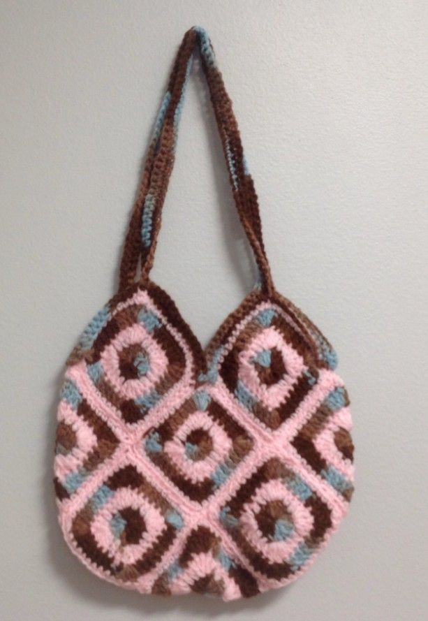 Granny square multi brown and pink bag,boho,chic, fashionable