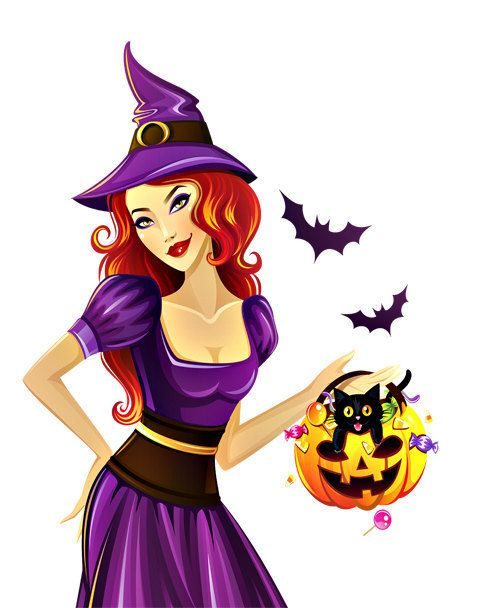 Good Witch Image, Purple Witch Bat Pumpkin Image,Large Teen Witch, Transparent Cutout, Teen Room ,Wall, Home Décor, Witch by EerieBeth on Etsy