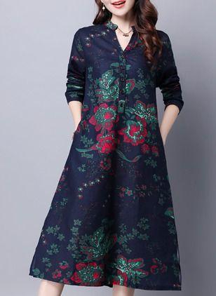 Linho Floral Manga comprida Longuete Informal Vestidos de (1038095) @ floryday.com