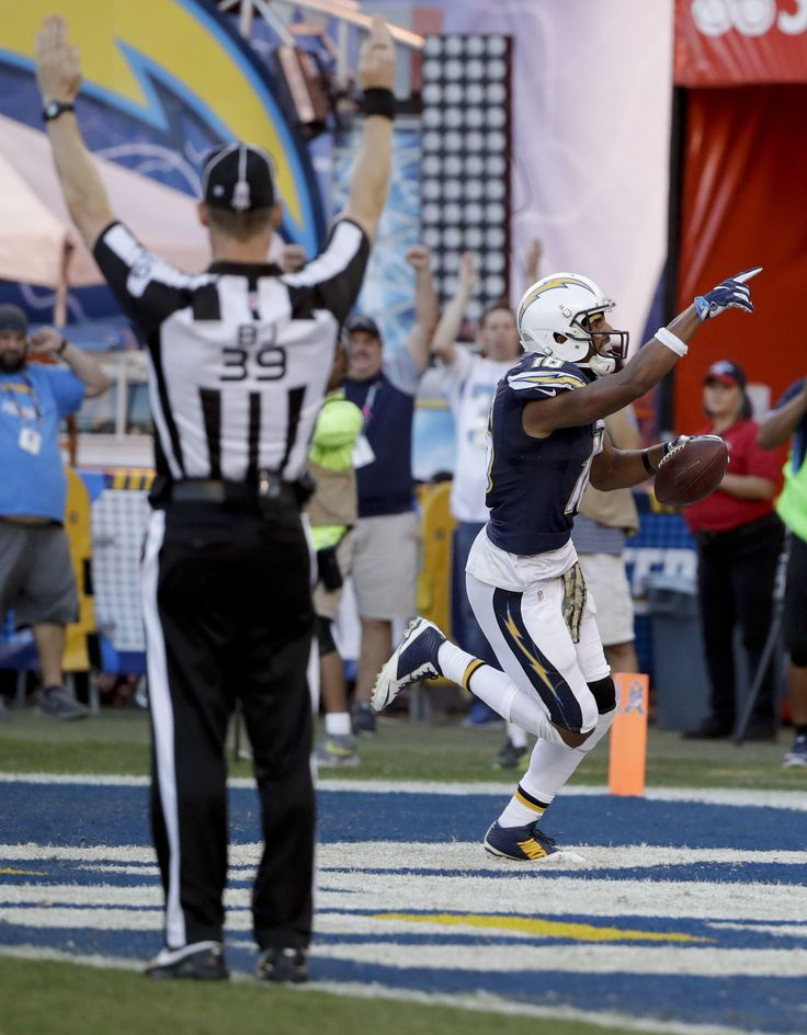 Dolphins vs. Chargers:  31-24, Dolphins  -  November 13, 2016  -    Tyrell Williams scores against the Miami Dolphins during the second half of an NFL football game in San Diego, Sunday, Nov. 13, 2016. (AP Photo/Gregory Bull) AP, GREGORY BULL