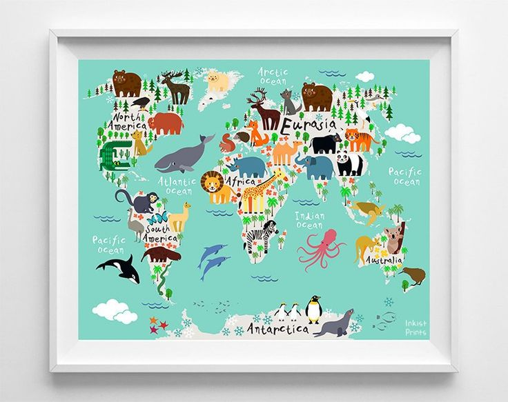 8 best Animal World Map Prints images on Pinterest Animal nursery - best of world map white background