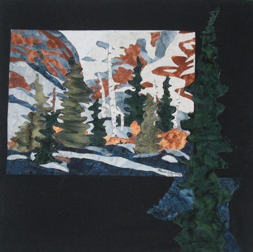 Collage mountains with birch and pine trees in the winter