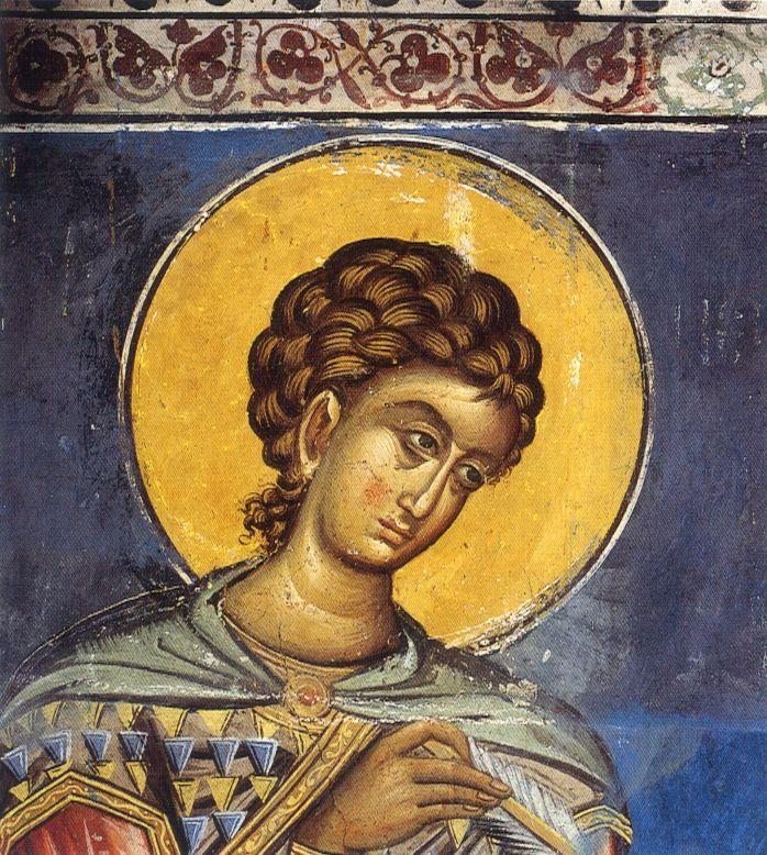 St Nestor. Fresco. late 14th c. Sts Anargyri chapel. Vatopedi monastery, Mt Athos, Greece.