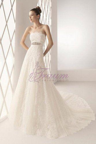 A-linie Trägerlos Spitze wunderschönes Brautkleid mit Kapelle Schleppe